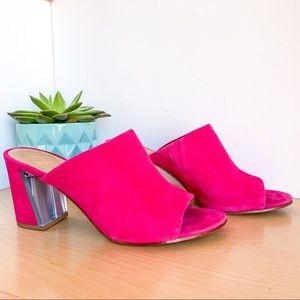 NINE WEST Hot Pink Suede Open Toe Platforms